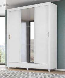 Guarda Roupa 3 portas de correr com espelho 1,62 de largura três opções de cores