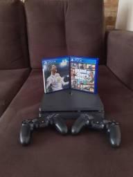 PS4 slim 1tb 2 manete 2 jogos com caixa