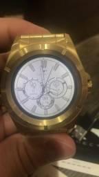 Vendo ou troco relógio seminovo technos connect dourado