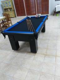 Mesa Charme 2,20 x 1,20 Cor Preta Tecido Preto e Borda Azul Mod. CECM5116