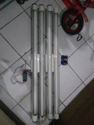 7 Luminária tubular com reator para 2 lâmpadas fluorescentes