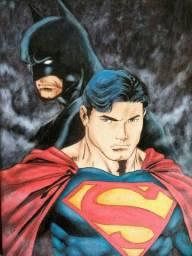 Quadro pirografado do Superman & Batman