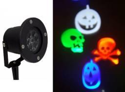 Luminária Led Halloween Espeto Desenho Caveiras Laser Bivolt
