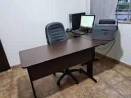 Mesa escritório em L tabaco