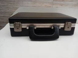Maleta pasta valise VINTAGE couro preta antiga