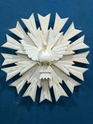 Divino Espírito Santo De Parede Branco Duplo Artesanal 50x50