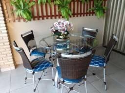 Mesa redonda de alumínio com 6 cadeiras (prod novo)