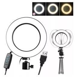 Ring light iluminador ( Selfie, makeup, + tripé de mesa, Luz led 6 polegadas)