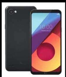 LG Q6 preto com capinha dual chip