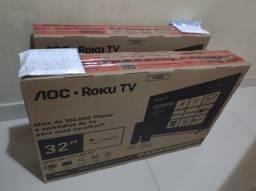 """2 TVs smarts 32"""" Pol. AOC ROKU Lacrada com nota fiscal"""