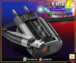 Carregador Turbo Power 18w Qc 3.0 + Cabo 3.0A t26as7as21