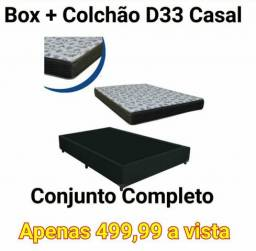 Base box casal + colchão casal D33