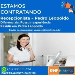 Vaga para Recepcionista - Pedro Leopoldo