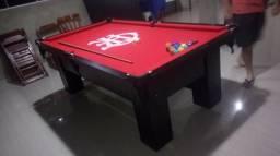 Mesa Charme de Bilhar | Mesa Preta | Tecido Vermelho | Flamengo
