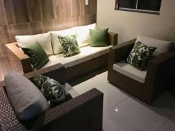 Jogo de sofá Plaza com estofado
