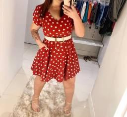 Vestido Plus Size Vermelho estampa coração