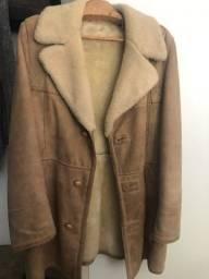 Jaqueta de couro e pele