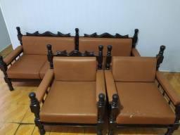 Sofá retro madeira maciça 4 lugares e 2 poltronas