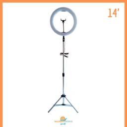 Iluminador Ring Light 14 Polegadas 36cm com Tripé de 2,2mt e suporte para Celular