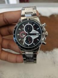 Relógio Lige Prata Cronógrafo Ponteiros Funcionais
