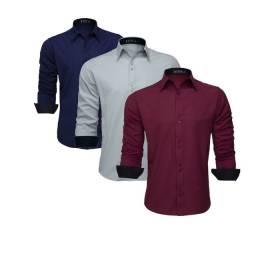 Camisa social masculina manga longa slim blusas