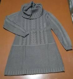 Título do anúncio: Vestido de Tricot com gola<br>Cor Cinza, tamanho M<br><br>Desapego