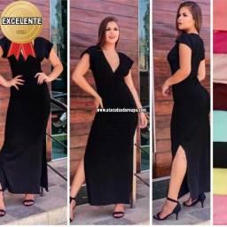 Vestido Liso Longo Malha Canelada<br><br>Kits com 5 peças