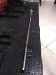 Barra maciça cromada 1,80m Musculação