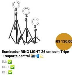 Iluminador Ring Light com tripé  e suporte para Smartphone