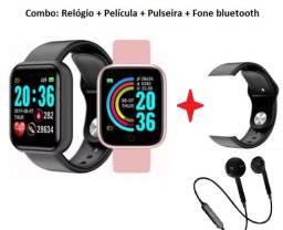 Relógio Smartwatch D20 + Pulseira + Película + Fone Bluetooth