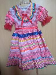 Vestido Festa Junina Vermelho colorido Luxo