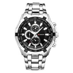 Relógio Clássico Prata e Preto