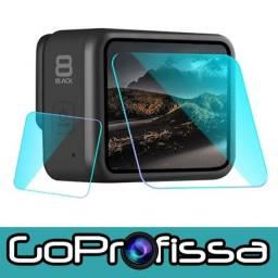 Películas de Vidro para Lente e LCD Hero 8 Black - Acessórios para GoPro e câmeras