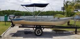 Barco de alumínio 5 metros com motor 15 HP