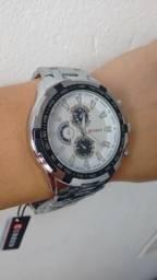 Relógio todo em Aço Inox Luxo Promoção Pronta Entrega 3x Sem Juros