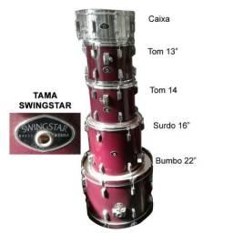 Bateria Tama Swingstar completa sem pratos Vinho