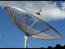 Antena parabólica com receptor century mídia box HD
