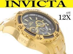 Relógio Invicta 24855 100% Original Banhado Ouro 18K Lançamento 1 Ano Garantia em 12X