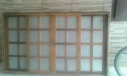 Janela vitro de madeira grande parcelo
