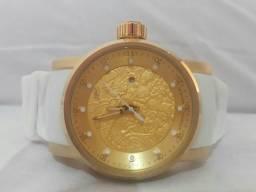 Relógio Invicta Yakuza S1 Branco Dourado Dragão Cristais + Frete Grátis