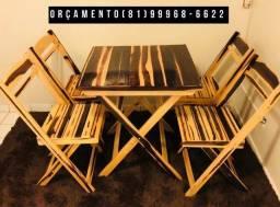 Mesa cadeira em madeira de lei