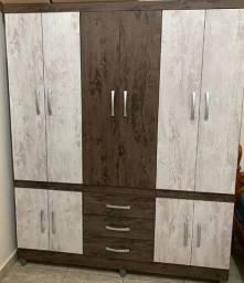 Guarda-roupas 6 portas com gavetas e sapateira