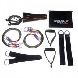 Kit extensores elásticos 3 tensões com mini band e corda