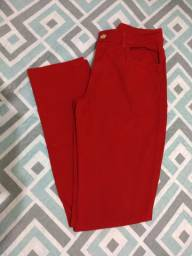 Calça feminina jeans vermelha, 40.