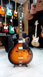 Guitarra semi acústica cort yorktown tap/b + bag