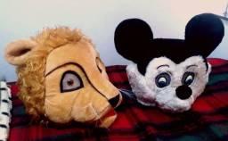 Fantasia mascote de pelúcia Mickey Mouse e Rei Leão