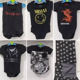 Lote com 6 itens de bebê - rock 'n roll