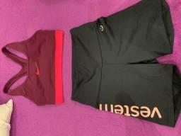 Top Nike e Shorts Vestem de academia