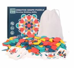 Quebra Cabeça 3D Infantil Educacional - 180 Peças Formas Geométricas