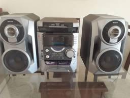 Áudio system Sony 3 CDs rádio fita cassete